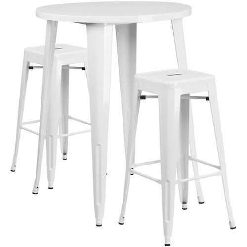 30'' Round White Metal Indoor-Outdoor Bar Table Set with 2 Square Seat Backless Stools