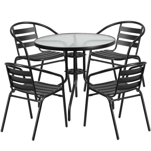 31.5'' Round Glass Metal Table with 4 Black Metal Aluminum Slat Stack Chairs