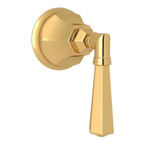 Palladian Trim for Volume Controls and Diverters - Italian Brass with Metal Lever Handle