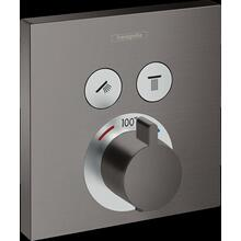 Brushed Black Chrome Thermostatic Trim for 2 Functions, Square