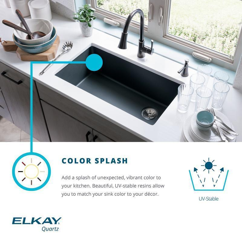 "Additional Elkay Quartz Classic 33"" x 22"" x 9-1/2"", Single Bowl Drop-in Sink, Black"