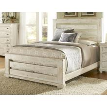 Queen Complete Slat Bed - Distressed White Finish