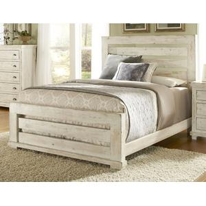 King Complete Slat Bed - Distressed White Finish