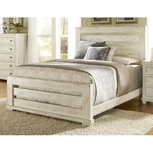 Gallery - Queen Complete Slat Bed - Distressed White Finish