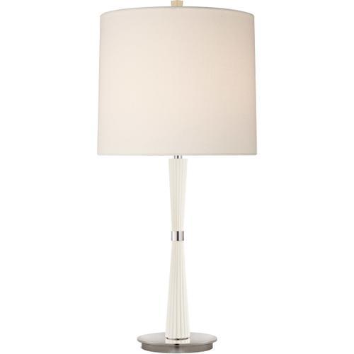 Barbara Barry Refined Rib 28 inch 100.00 watt China White Refined Rib Table Lamp Portable Light, Medium