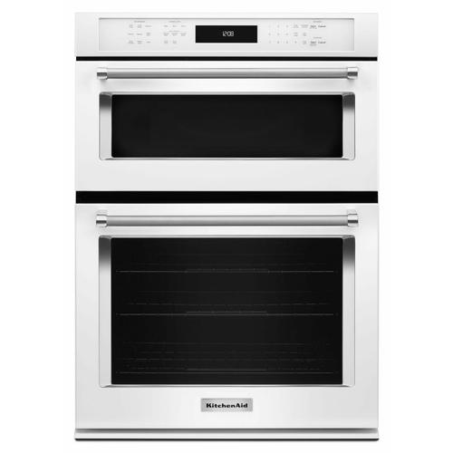 """KitchenAid - 30"""" Combination Wall Oven with Even-Heat™ True Convection (Lower Oven) - White"""