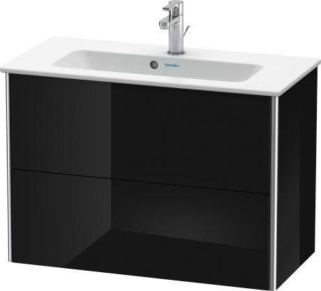 Vanity Unit Wall-mounted Compact, Black High Gloss (lacquer)