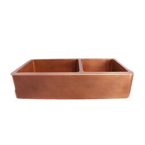 "Pandan 42"" Double Bowl Copper Farmer Sink"