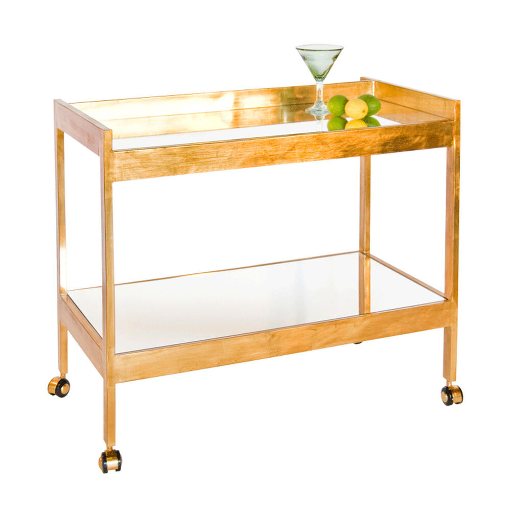 The Perfect Blank Slate for Styling the Bar Cart of Your Dreams! But Don't Let the Minimalist Lines of Our Roland Cart Fool You - Mirrored Top and Shelf Within Hand-finished Gold Leaf Frame Brings Serious Glamour and Polish To Your Next Happy Hour.