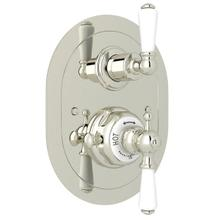 Edwardian Era Oval Thermostatic Trim Plate with Volume Control - Polished Nickel with Metal Lever Handle
