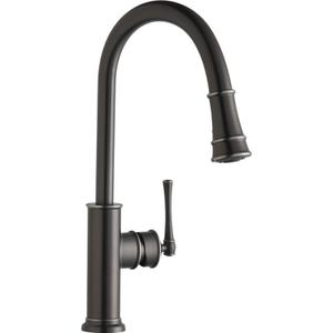 Elkay Explore Single Hole Kitchen Faucet with Pull-down Spray and Forward Only Lever Handle Antique Steel Product Image