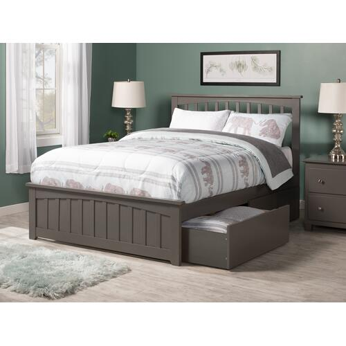 Mission Full Bed with Matching Foot Board with 2 Urban Bed Drawers in Atlantic Grey