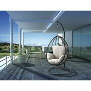 ACME Simona Patio Swing Chair with Stand - 45030 - Beige Fabric & Black Wicker Product Image