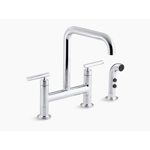 "Vibrant Stainless Two-hole Deck-mount Bridge Kitchen Sink Faucet With 8-3/8"" Spout and Matching Finish Sidespray"