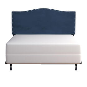 Kiley Upholstered King Headboard With Frame, Blue Velvet