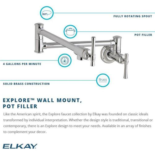 Elkay Explore Wall Mount Single Hole Single Hole Pot Filler Kitchen Faucet with Lever Handles