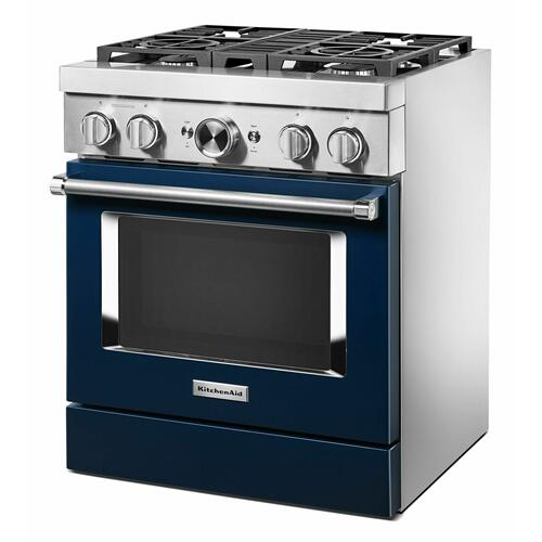 KitchenAid - KitchenAid® 30'' Smart Commercial-Style Dual Fuel Range with 4 Burners - Ink Blue