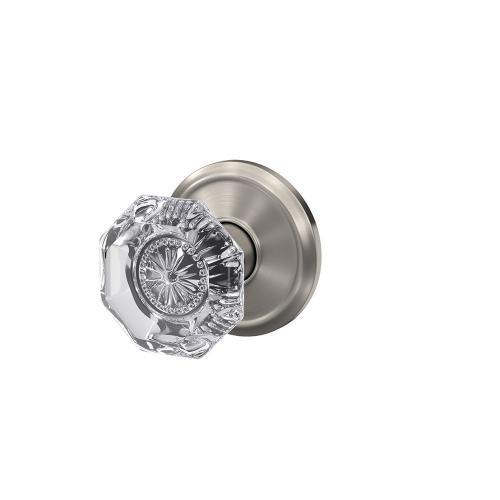Custom Alexandria Non-Turning Glass Knob with Alden Trim - Satin Nickel