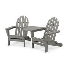 View Product - Classic Folding Adirondacks with Connecting Table in Slate Grey