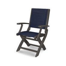 Coastal Folding Chair in Vintage Coffee / Sapphire Sling