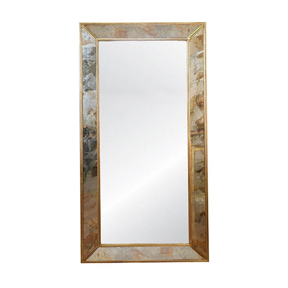 Rectangular Antiqued Floor Mirror With Gold Leafed Edging