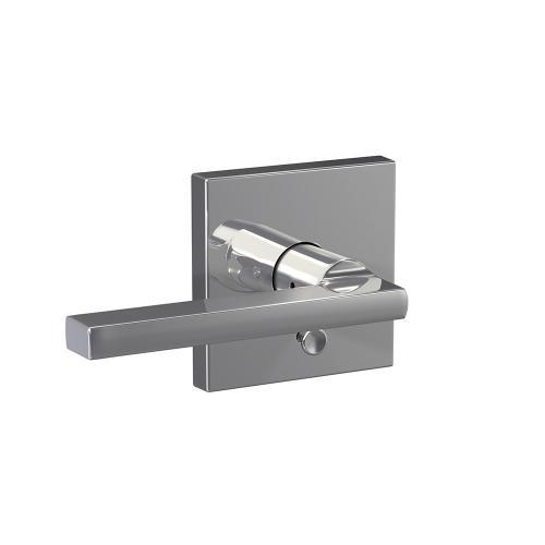 Custom Latitude Lever with Collins Trim Hall-Closet and Bed-Bath Lock - Bright Chrome