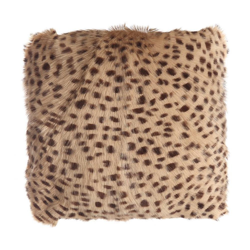 See Details - Spotted Goat Fur Pouf Cream