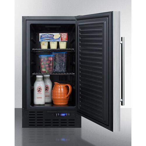 "FLOOR MODEL 18"" Wide ADA Compliant Built-in Undercounter All-refrigerator With A Stainless Steel Exterior, Digital Thermostat and Front Lock"