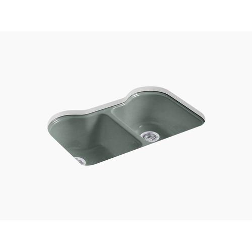 """Basalt 33"""" X 22"""" X 9-5/8"""" Undermount Double-equal Kitchen Sink With 5 Faucet Holes"""