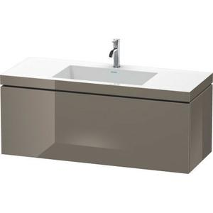 Furniture Washbasin C-bonded With Vanity Wall-mounted, Flannel Gray High Gloss (lacquer)