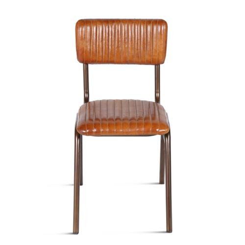 Bob Iron Dining Chair with Ribbed Leather