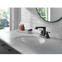Matte Black Two Handle Centerset Lavatory Faucet - Metal Pop-Up