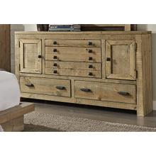See Details - Drawer Dresser - Distressed Light Pine Finish