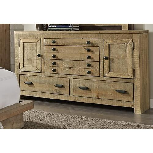 Drawer Dresser - Distressed Light Pine Finish