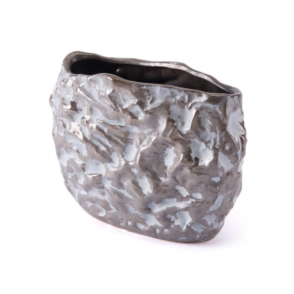 Small Stones Vase Metallic Brown & White