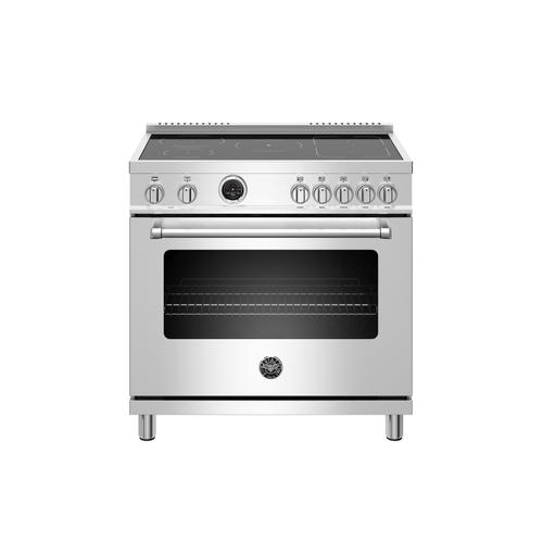 Bertazzoni - 36 inch Induction Range, 5 Heating Zones, Electric Self-Clean Oven Stainless Steel