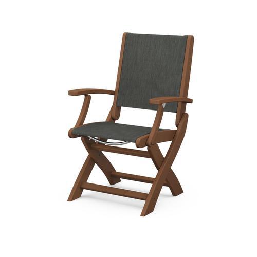 Polywood Furnishings - Coastal Folding Chair in Teak / Ember Sling