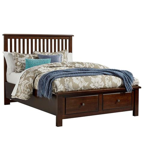 King Slat Bed with Footboard Storage