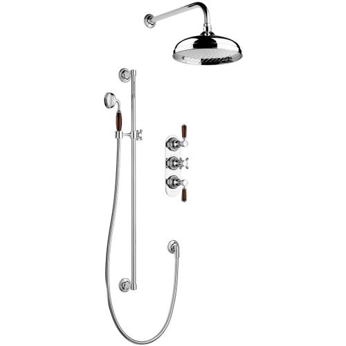 "Non Lacquered Brass 1/2"" Concealed thermostatic shower - 2 volume controls"