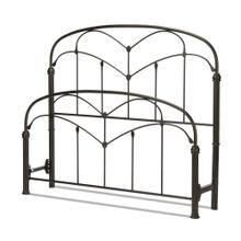 See Details - Pomona Metal Headboard and Footboard Bed Panels with Curved Grills and Detailed Posts, Hazelnut Finish, Queen