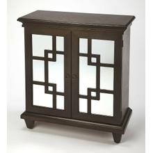 See Details - Geometric attitude is boasted with this contemporary patterned chest. The clean lines of the geometric patterned fret work offer the paneled mirror glass an unique reflection for all to enjoy . This style offers great storage convenience while making an elegant statement in the offering. Pair with the coordinating Sideboard #4414403 to complete the look.