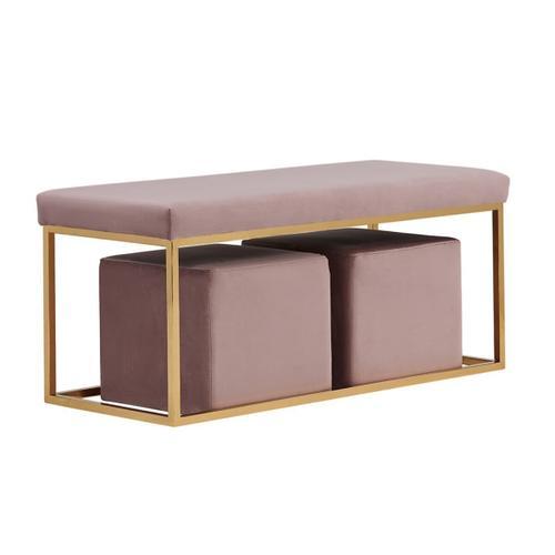 Gallery - Divani Casa Walden Modern Mauve Velvet Bench & Ottoman Set