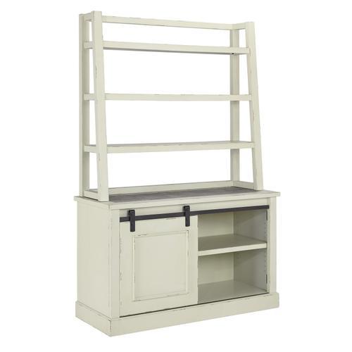 Jonileene Home Office Tall Desk Hutch White/Gray