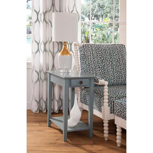 Narrow End Table in Ocean Blue