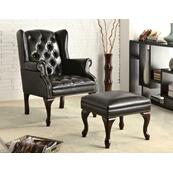 Traditional Espresso Accent Chair and Ottoman