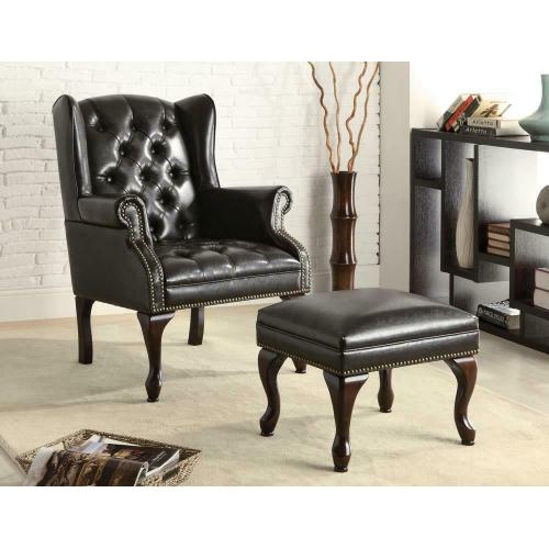 Coaster - Traditional Espresso Accent Chair and Ottoman