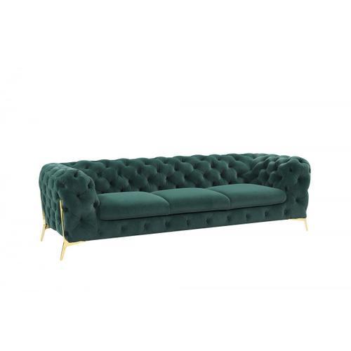 VIG Furniture - Divani Casa Quincey - Transitional Emerald Green Velvet Sofa