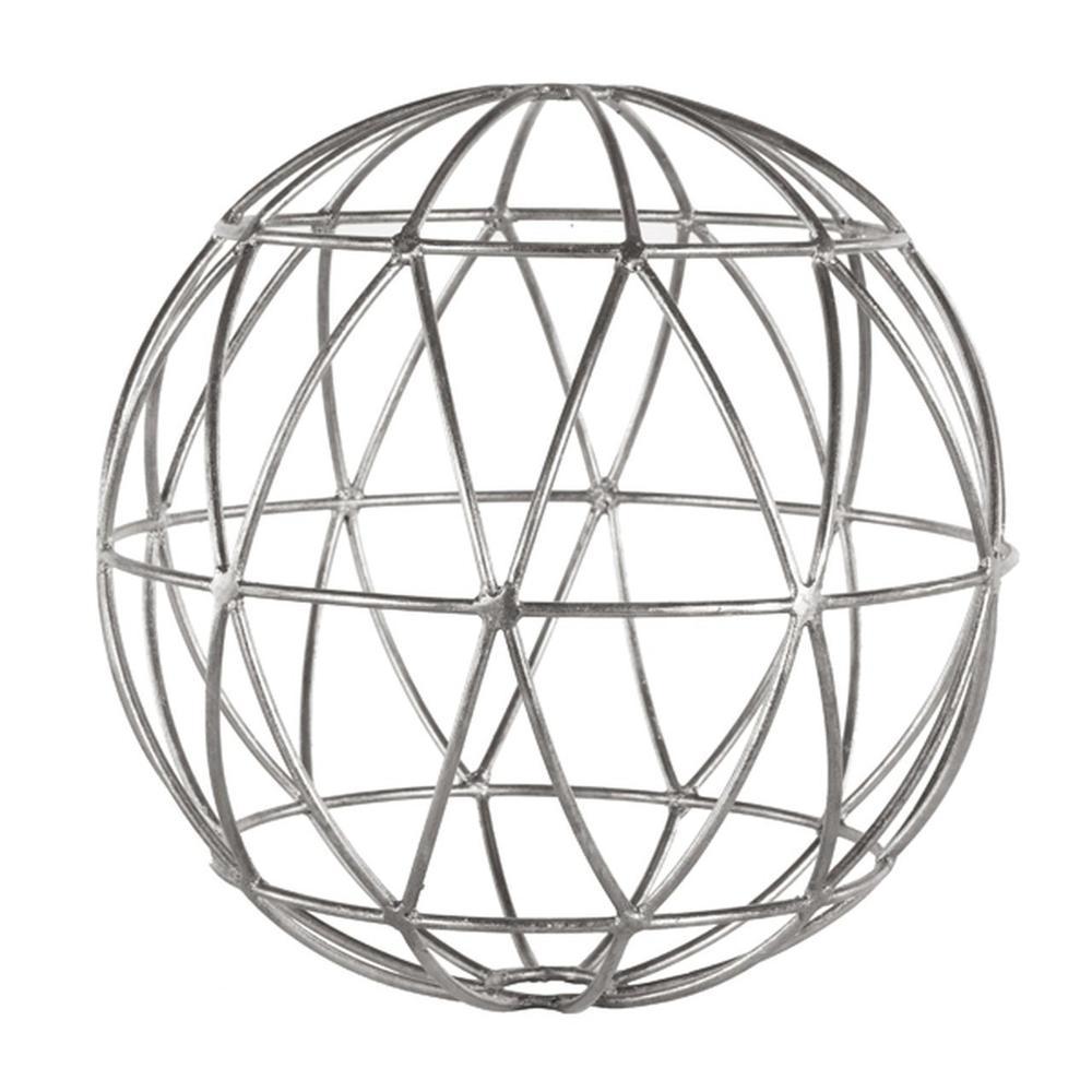 See Details - Silver Leaf Geometric 12 Inch Sphere.