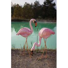 See Details - painted metal pink flamingo \ head down