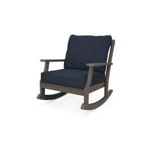 Polywood Furnishings - Braxton Deep Seating Rocking Chair in Vintage Coffee / Marine Indigo
